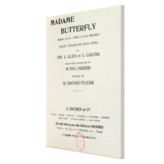 Playbill for Madame Butterfly by Giacomo Canvas Print