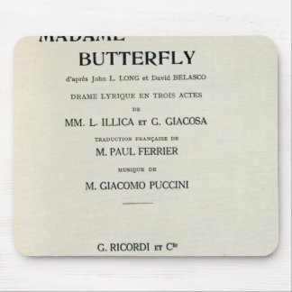Playbill for Madame Butterfly by Giacomo Mouse Pad