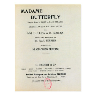 Playbill for Madame Butterfly by Giacomo Postcard