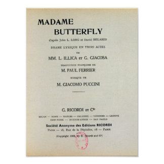 Playbill for Madame Butterfly by Giacomo Poster