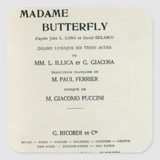 Playbill for Madame Butterfly by Giacomo Square Sticker
