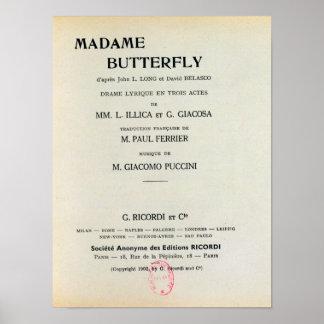 Playbill para señora Butterfly de Giacomo Impresiones