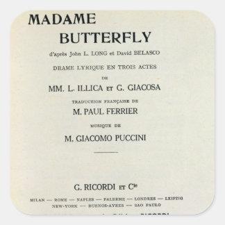 Playbill para señora Butterfly de Giacomo Pegatina Cuadradas
