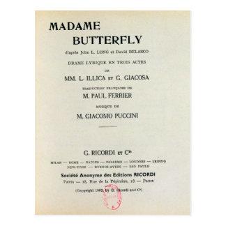 Playbill para señora Butterfly de Giacomo Postales