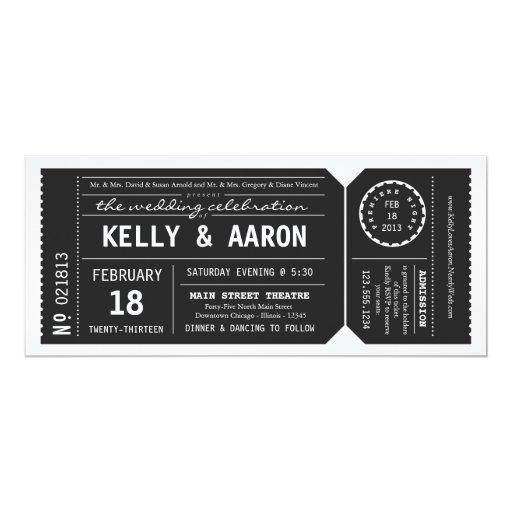 Playbill Theater Ticket Wedding Invitation - Black