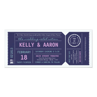 Playbill Theater Ticket Wedding Invitation - Navy