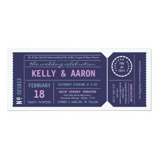 "Playbill Theater Ticket Wedding Invitation - Navy 4"" X 9.25"" Invitation Card"