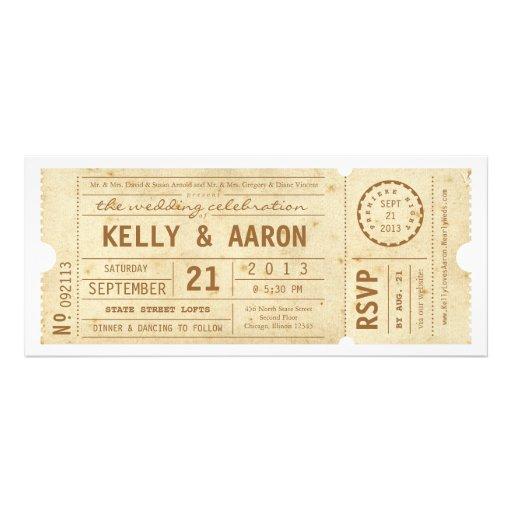 Playbill Vintage Theater Ticket Wedding Invitation 4 X 925 Invitation Card