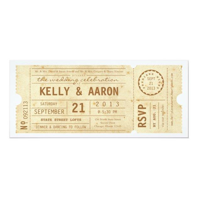 Playbill Vintage Theater Ticket Wedding Invitation Zazzlecom