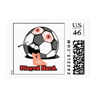 played hard funny deflated soccer ball sports stamp