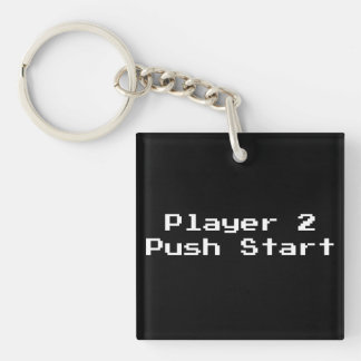 Player 2 Push Start Keychain