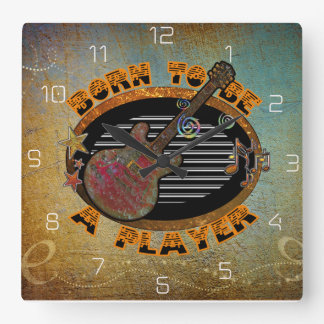 Player Electric Guitar ID281 Square Wall Clock