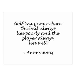 Player Lies Well Golf Design Postcard