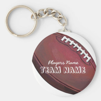 Player Name and Number Football Basic Round Button Keychain