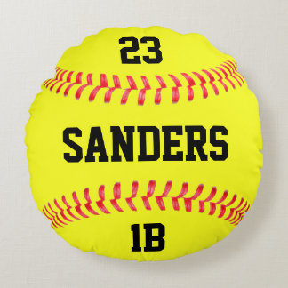Player Name, Number & Position Fastpitch Softball Round Pillow