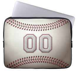 Player Number 00 - Cool Baseball Stitches Laptop Sleeve