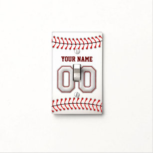 Player Number 00 - Cool Baseball Stitches Light Switch Cover