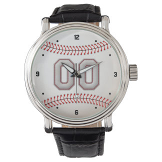 Player Number 00 - Cool Baseball Stitches Wrist Watches