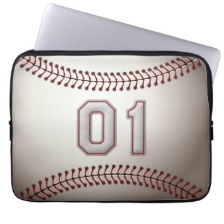 Player Number 01 - Cool Baseball Stitches Laptop Computer Sleeve