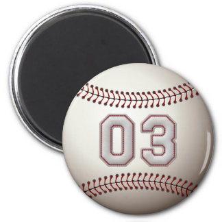 Player Number 03 - Cool Baseball Stitches 2 Inch Round Magnet