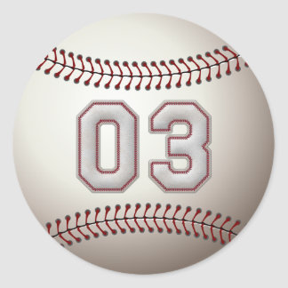 Player Number 03 - Cool Baseball Stitches Classic Round Sticker