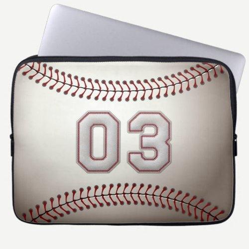 Player Number 03 - Cool Baseball Stitches Laptop Sleeve