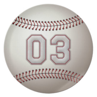 Player Number 03 - Cool Baseball Stitches Plate