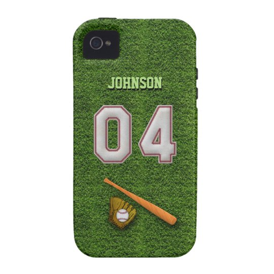 Player Number 04 - Cool Baseball Stitches Case-Mate iPhone 4 Case