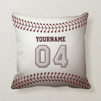 Player Number 04 - Cool Baseball Stitches Throw Pillow