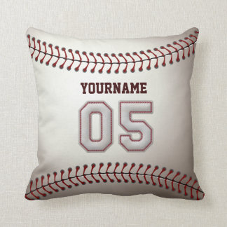 Player Number 05 - Cool Baseball Stitches Pillow