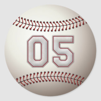 Player Number 05 - Cool Baseball Stitches Classic Round Sticker