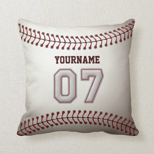 Player Number 07 - Cool Baseball Stitches Pillow