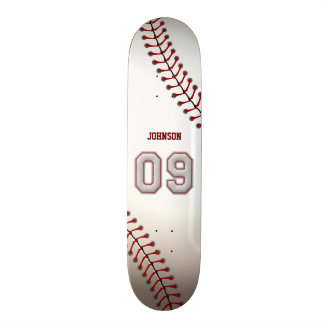 Player Number 09 - Cool Baseball Stitches Skateboard