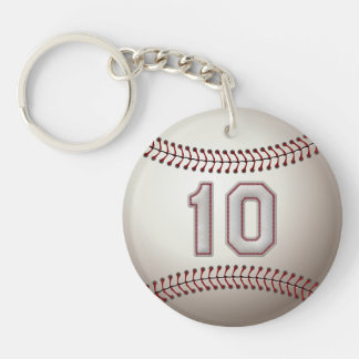 Player Number 10 - Cool Baseball Stitches Double-Sided Round Acrylic Keychain