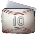 Player Number 10 - Cool Baseball Stitches Laptop Sleeves