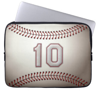 Player Number 10 - Cool Baseball Stitches Laptop Sleeve