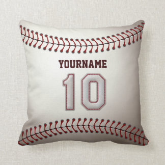 Player Number 10 - Cool Baseball Stitches Throw Pillows