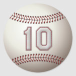 Player Number 10 - Cool Baseball Stitches Classic Round Sticker