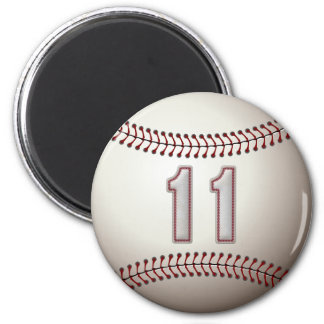 Player Number 11 - Cool Baseball Stitches 2 Inch Round Magnet
