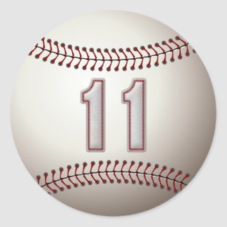 Player Number 11 - Cool Baseball Stitches Classic Round Sticker