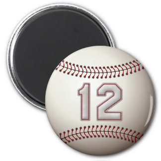 Player Number 12 - Cool Baseball Stitches 2 Inch Round Magnet