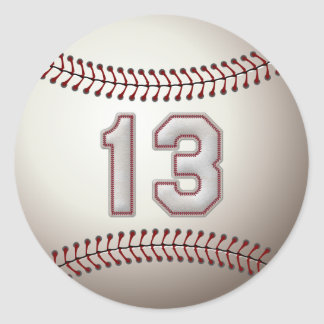Player Number 13 - Cool Baseball Stitches Classic Round Sticker