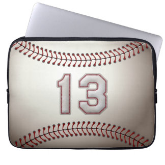Player Number 13 - Cool Baseball Stitches Laptop Sleeve