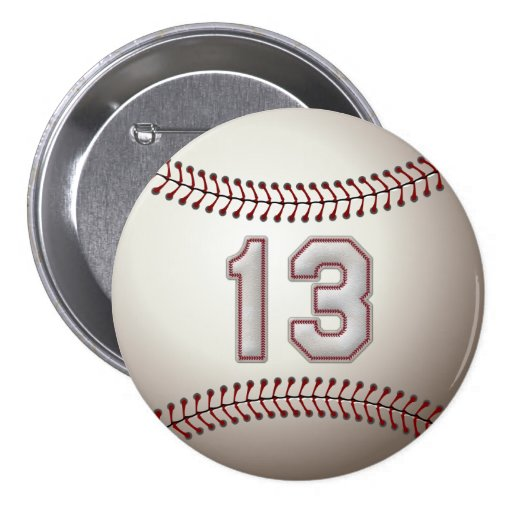 Player Number 13 - Cool Baseball Stitches Pins