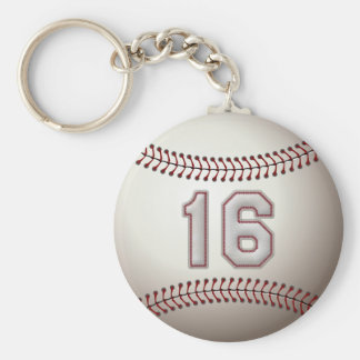 Player Number 16 - Cool Baseball Stitches Basic Round Button Keychain