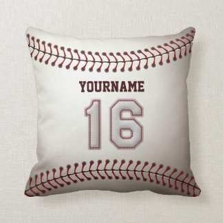 Player Number 16 - Cool Baseball Stitches Throw Pillow