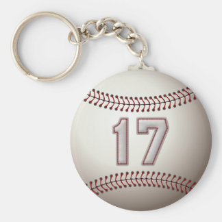 Player Number 17 - Cool Baseball Stitches Basic Round Button Keychain
