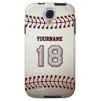Player Number 18 - Cool Baseball Stitches Look Galaxy S4 Case