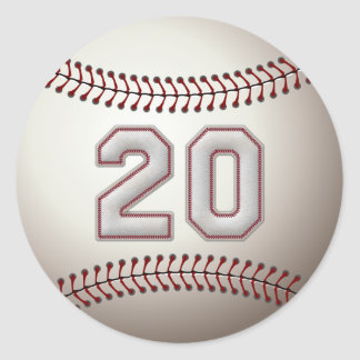 Player Number 20 - Cool Baseball Stitches Classic Round Sticker