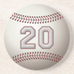 Player Number 20 - Cool Baseball Stitches Drink Coaster
